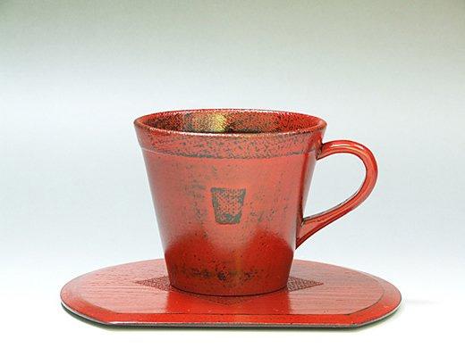 木製渕布コーヒーカップ(根来塗り)1客