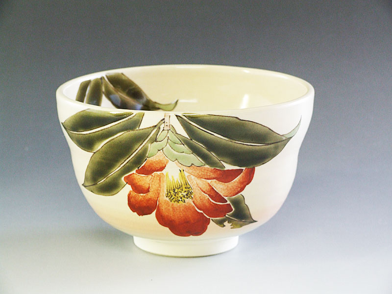 九谷焼【山田義明】作椿茶碗