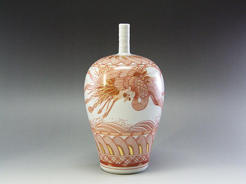 九谷焼【米久和彦】作赤絵鳳凰図壺