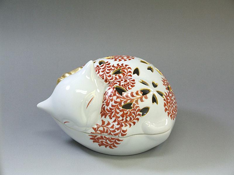 九谷焼 【米久三枝子】作猫香爐 赤絵