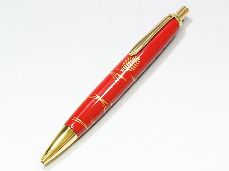 輪島塗 本うるし珠流筆(ボールペン)松葉(赤)