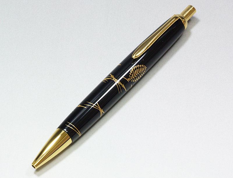 輪島塗 本うるし珠流筆(ボールペン)松葉(黒)