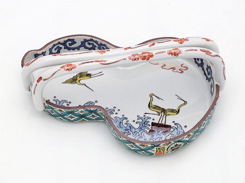 九谷焼 瓢箪型鶴文手付鉢