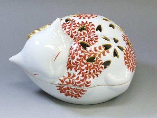 九谷焼 猫香爐 赤絵