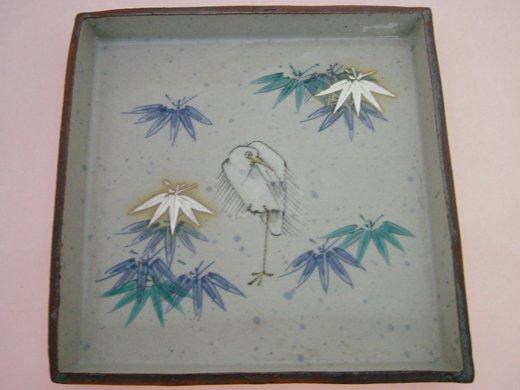 九谷焼【谷敷正人】作一路平安角皿(木箱入り)