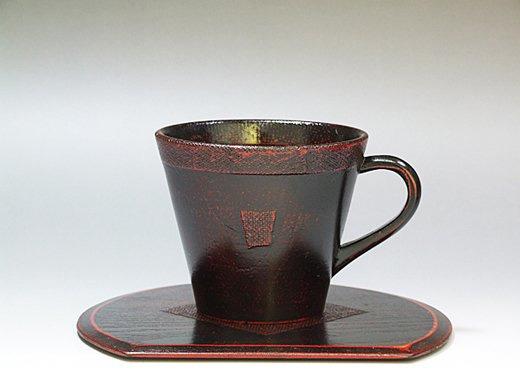 木製渕布コーヒーカップ(曙塗り)1客