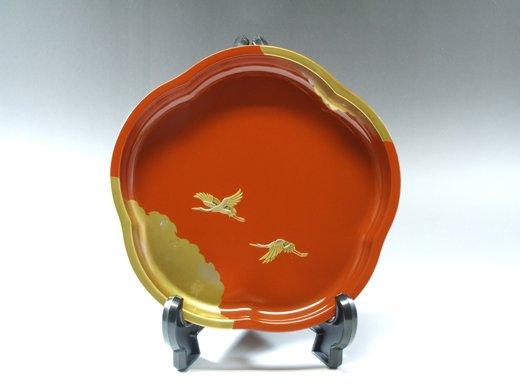 山中塗 翔鶴梅型鉢(木箱入り)
