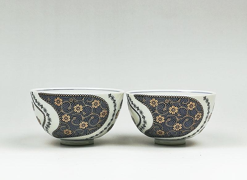 九谷焼 組飯碗青粒花