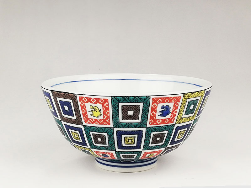 九谷焼 色絵飯碗石畳