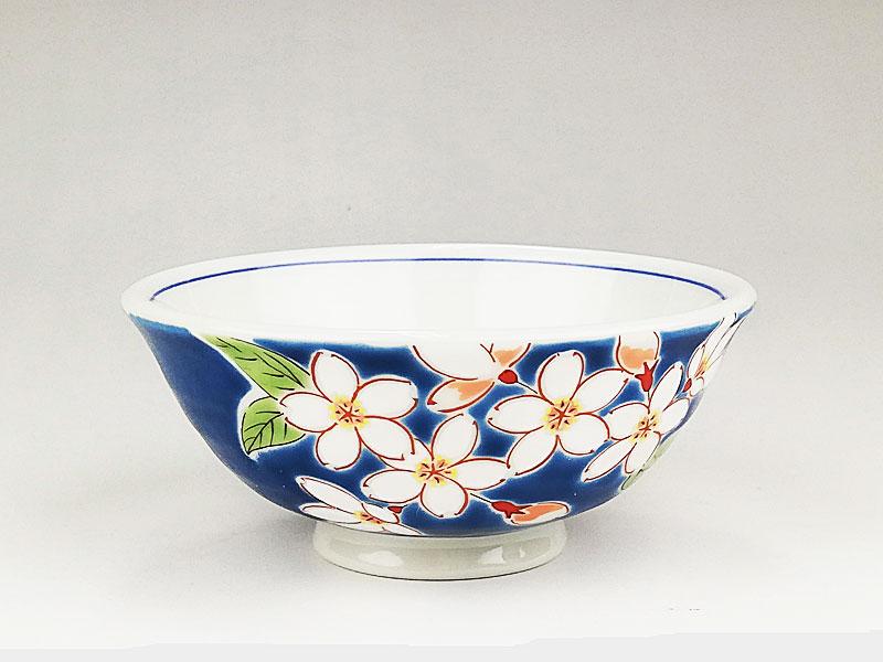 九谷焼 色絵飯碗四季の花(桜)