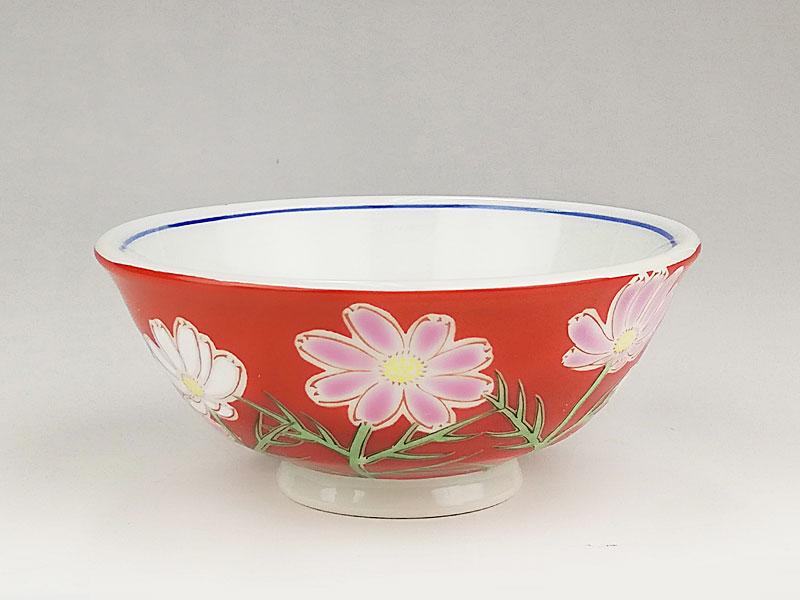 九谷焼 色絵飯碗四季の花(コスモス)