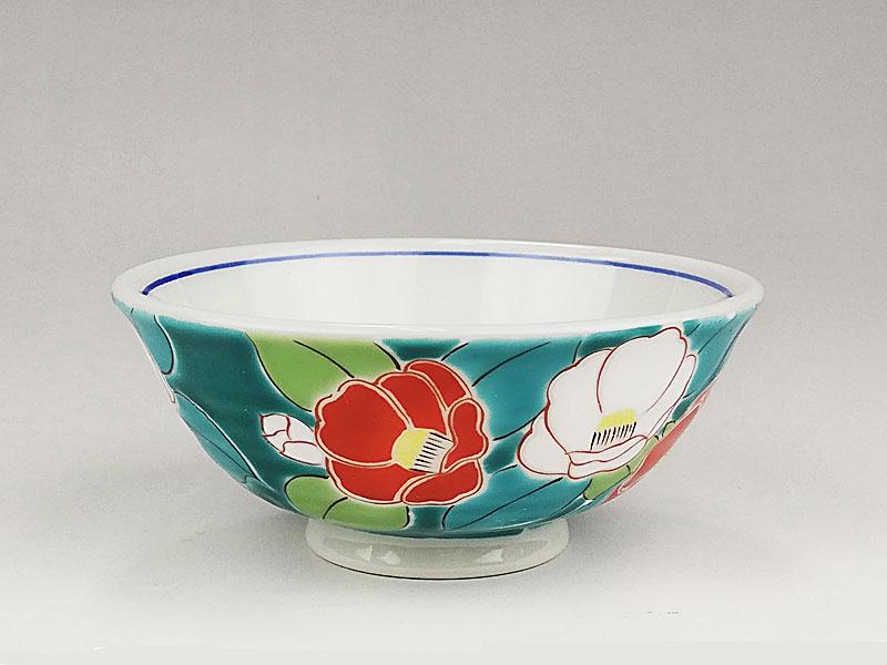 九谷焼 色絵飯碗四季の花(椿)