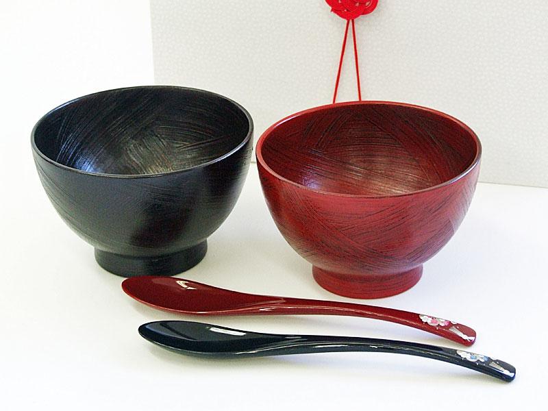 山中塗 夫婦茶漬椀と花嫁スプーン