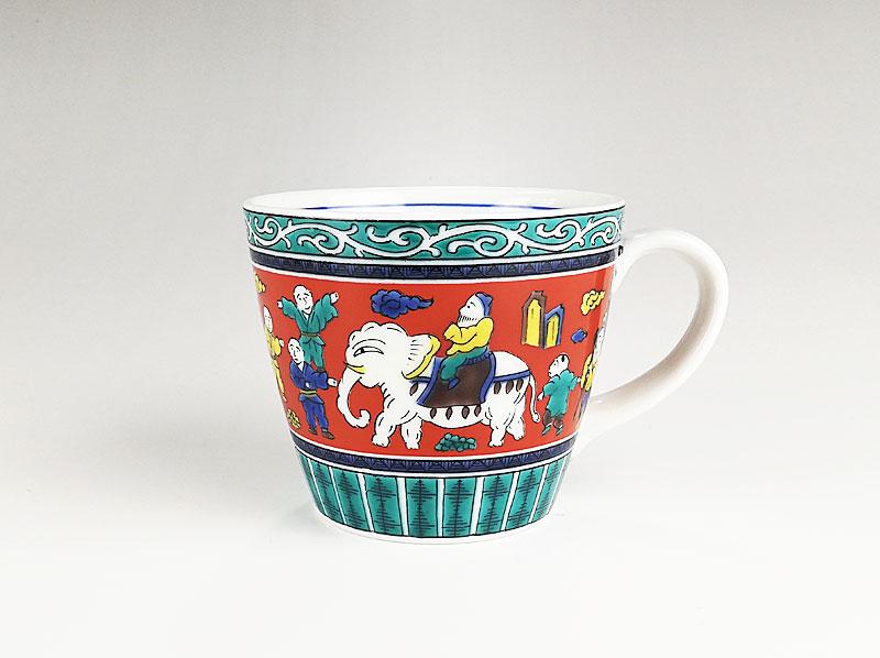 九谷焼 色絵マグカップ木米風