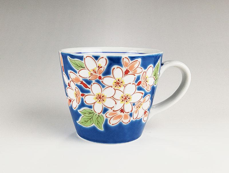九谷焼 色絵マグカップ四季の花 桜