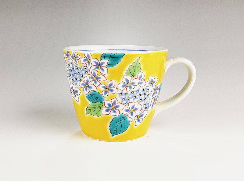 九谷焼 色絵マグカップ四季の花 紫陽花