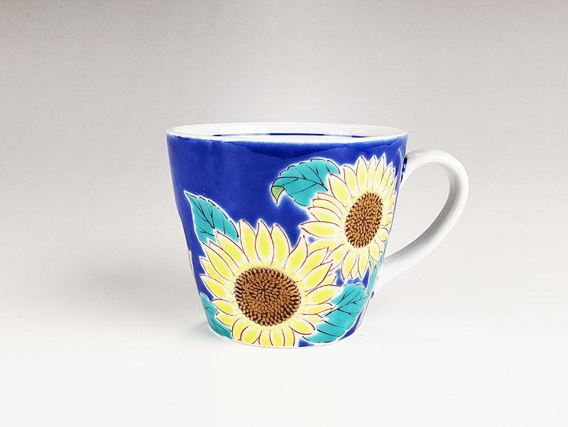 九谷焼 色絵マグカップ四季の花 ひまわり