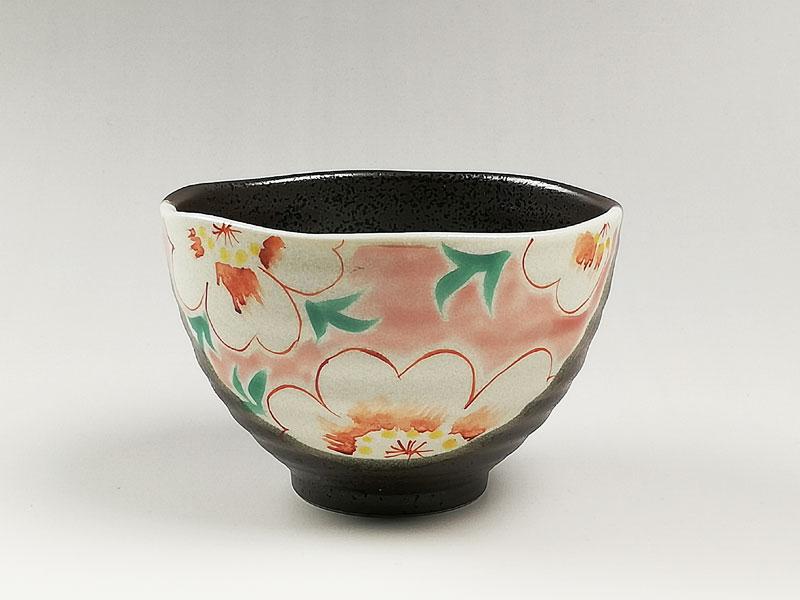 九谷焼 茶漬碗花文ピンク