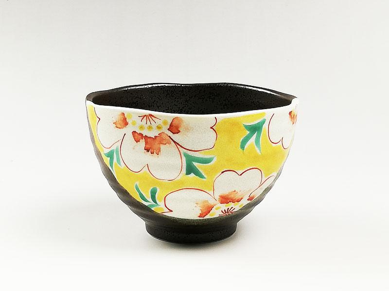 九谷焼 茶漬碗花文黄色